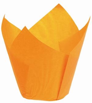 Tulipanformede muffinforme, orange, 25 stk